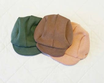 Vintage Cap in Olive Green, Brown & Cream