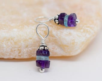 Interchangeable Earring Charms, Apatite Amethyst Charms, Earring Dangles, Gemstone Charms for Necklace, Bracelet Charms, Sterling Silver