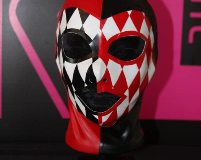 Size Small Red, Black and White Latex Hood