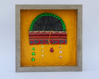 Minimalist fabric jewelry shadow box masooleh european feel persian inspired  fabric jewelry sparkle