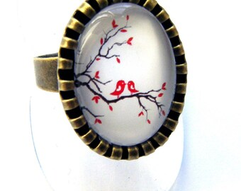 "Bronze ring ""birds on branch"" costume jewelry"