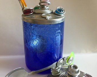 Vintage Cobalt Blue Jar with Capco Stainless Lids and Spoons-Japan