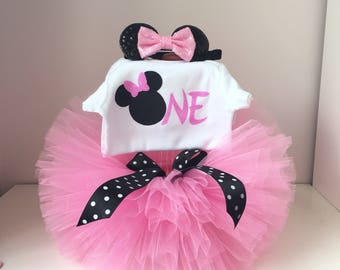 Pink and Black Minnie Mouse Birthday Outfit ,Minnie Mouse Birthday Tutu Outfit Minnie Mouse, Minnie Mouse Tutu Set,1st Birthday