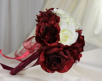 Burgundy and White Rose Bridal Bouquet,  Burgundy Brides Bouquet, Deep Red and White Rose Silk Flower Wedding Bouquet, Rose Bouquet