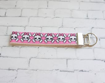 MONSTER HIGH pink  key Fob, wristlet keychain, teen key FOB, Comic ribbons, Girl power, anime, Pink keychain, girly