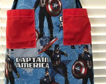 Captain America apron / patriotic apron / red white and blue / adult apron with pockets