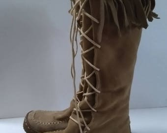 "Vintage Boho ""Wanted"" Moccasin Knee High Fringe Boots Size 6"