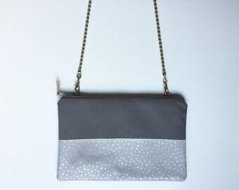 Clutch with detachable chain shoulder strap