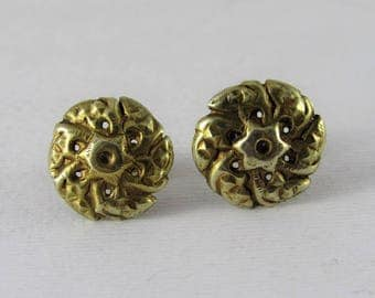 Antique gold earrings - flower shaped - Tamang jewelry