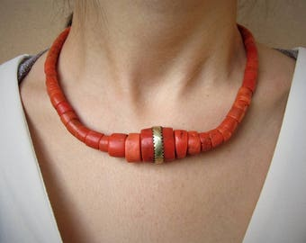 15% OFF - REDUCED PRICE - Antique coral necklace - Berber necklace - Antique coral necklace