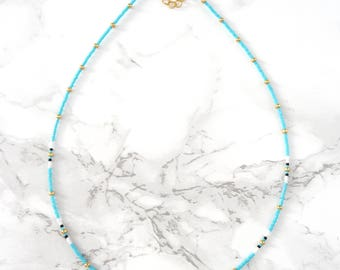 Bohemian coins necklace, minimalist coin necklace, delicate dainty necklace, beaded fine necklace, gypsy choker necklace, turquoise necklace