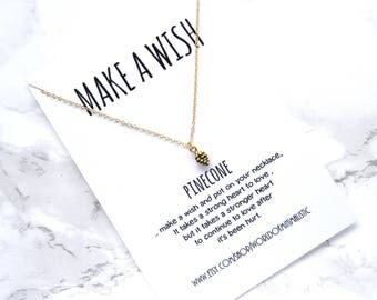 Pinecone necklace, simple everyday necklace, friendship jewelry, wish gold chain necklace, sister bridesmaid necklace, minimalist jewelry