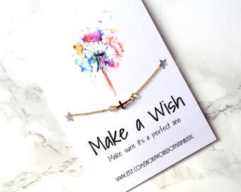 Faith make a wish bracelet, tiny cross minimalist bracelet, cross jewelry, dainty delicate religious jewelry, spiritual jewelry, simple gift