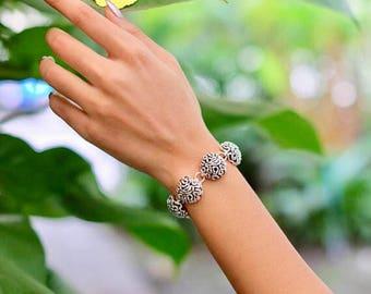 Sterling Silver Bracelet, Bridal Bracelet, Wrist Chain, Gifts For Her, Bohemian Bracelet, Chunky Silver Cuff, Silver Bracelet BS 38