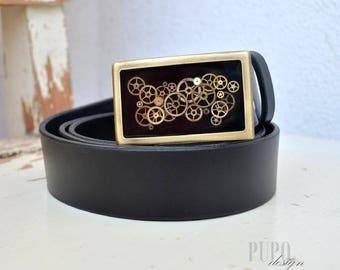 Black Leather Belt/ Steampunk Buckle/ Leather Belt/ Extravagant Buckle/ Steampunk/ Gift/ Unique Belt/ Steampunk Belt Buckle/ Leather/ Gifts