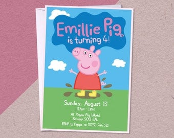 12 Peppa Pig Personalised Birthday Party A6 Invitations with/without white envelopes