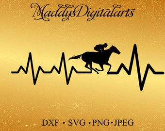 Horse EKG Svg Png Dxf Cut file for Silhouette, Cricut, Scan n Cut Horse rider Horse Lover Rodeo