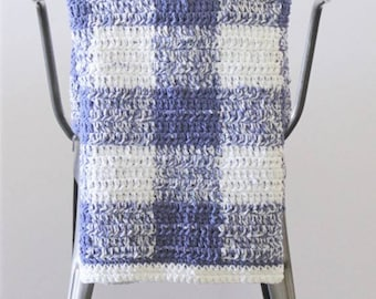 Extended Half-Double Crochet Blue Gingham Blanket