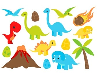 FREE COMMERCIAL USE Cute Dinosaur Clip Art - Set of 22 - DInosaur Clip Art - Cute Dinosaur - Diplodocus - T Rex - Triceratops - Scrapbooking