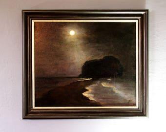 Moon Night Original Oil painting canvas Art Wall Decor