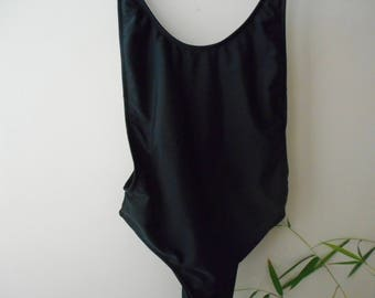 Revealing Black 80s One Piece High Rise Bathing Suit Swimsuit