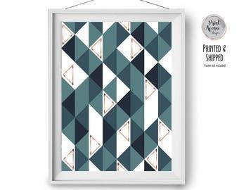 Geometric Print, Teal Copper Wall Art, Pattern Print, Scandinavian Decor, Geometric Pattern, Modern Print, 20x25 cm, 8x10 in, Print Avenue