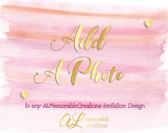 Add a Photo to Any Invitation Design, Add Photo to Existing Design, Turn into Photo Invitation