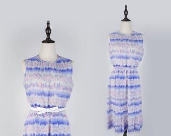 Floral Striped Round Collar Sleeveless Grey Vintage Women Dress Size M
