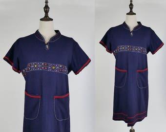 Tribal Dress, Flower Embroider Short Sleeves Navy Women Dress Size S-M