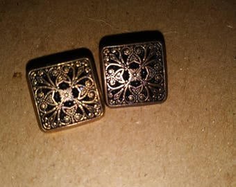 Antique Square Buttons. Filigree Buttons. Antique Buttons. Filigree square buttons. Two antique buttons. Plastic shank buttons
