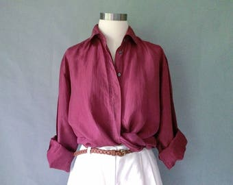 Vintage silk blouse/ button down blouse /shirt /top minimalist blouse/ burgundy/size S/M/L