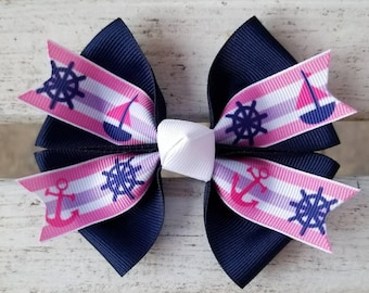 Sail Boat/Anchor Hair Bow (4 inch)