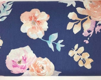 Navy Floral Fabric, Watercolor Rose Fabric, Fabric by the yard, Fat Quarter, Quilting Fabric, Apparel Fabric, 100% Cotton Fabric, F-4