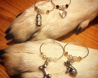 Dog-o's wine charms with Swarovski crystals and pearls