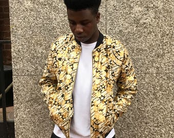 Festival Clothing - Festival jacket - Metallic Jacket - African Jacket - Shiny Jacket - African Clothing - Wax Print Jacket - Wax Bomber