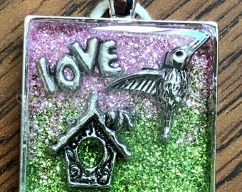 "Silver Pendant - 1"" Square Bezel - Resin Coated - Glittered Background - Hummingbird - Love (SS-011)"