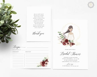 Bridal Shower Invitation, Custom Bridal Shower Invite, Bride Illustration, Printable Invitation, Illustrated Bridal Shower Invite, #IBP