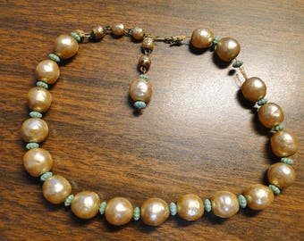 """Antique Victorian Pearl Necklace - 16 1/2"""" Long - Large Pearls - Needs Restringing - Great Old Piece!"""