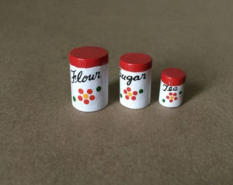 Doll House Kitchen Canister Set Flour Sugar Tea Minatures