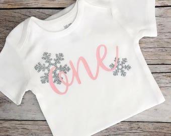 Winter Wonderland Theme Birthday Shirt (Customizable Colors), Winter Onederland First Birthday Shirt