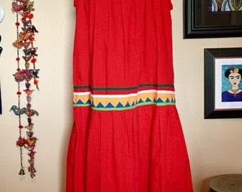 Red sundress • red pattern sundress • Mexican style dress • red dress • Mexican dress