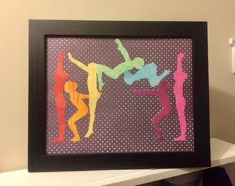 Rainbow Silhouettes Gymnastics Skills Motion Wall Art Decor Gymnast Gift  Dance Cheerleading Tumbling Back Handspring Aerial