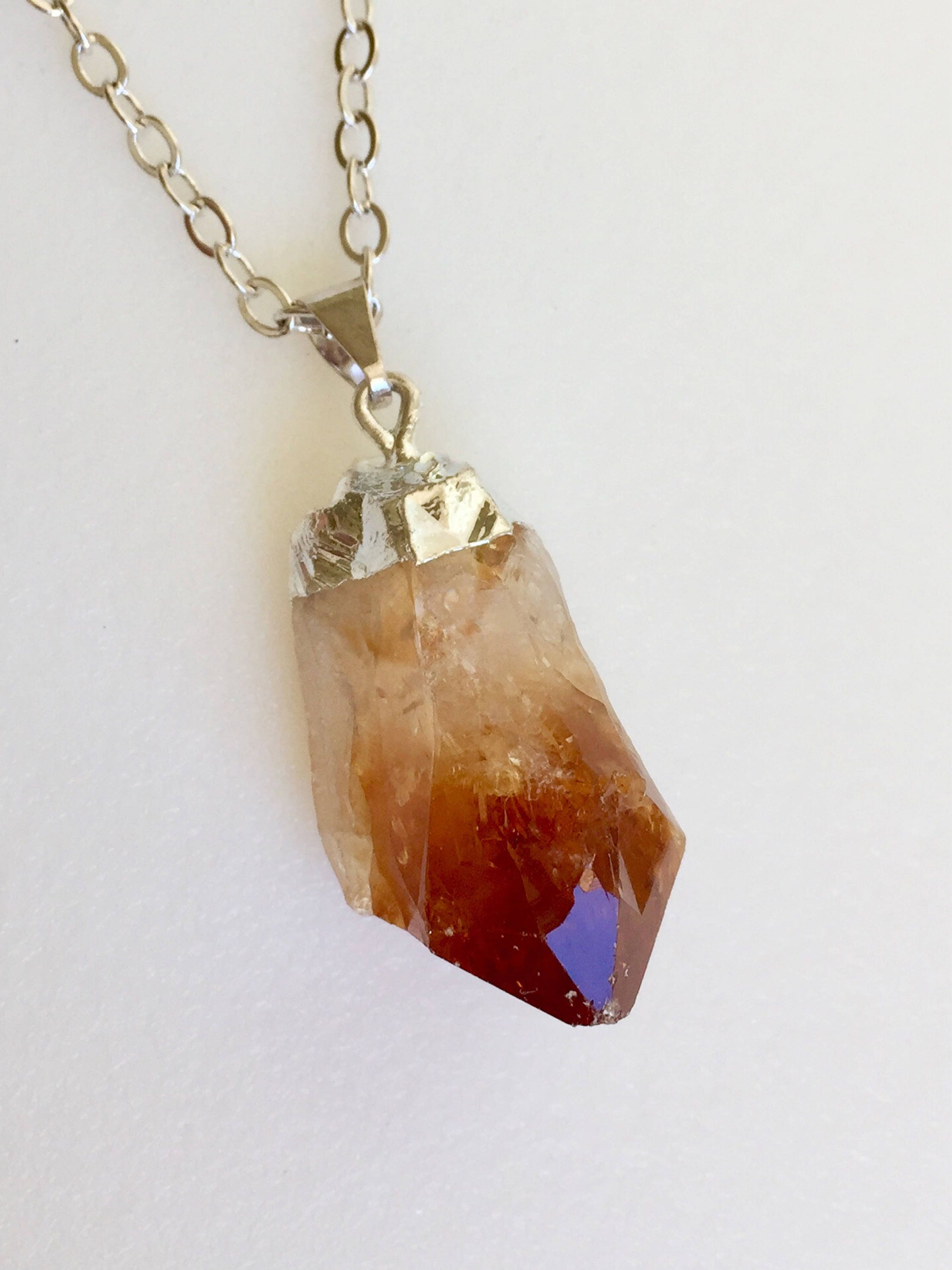 Citrine crystal necklace citrine quartz point raw citrine point citrine crystal necklace citrine quartz point raw citrine point november birthstone healing aloadofball Gallery