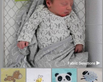 Baby Bjorn fitted cradle sheets. Animal prints in premium designer cotton. Custom bassinet sheets. Modern nursery gender neutral designs.