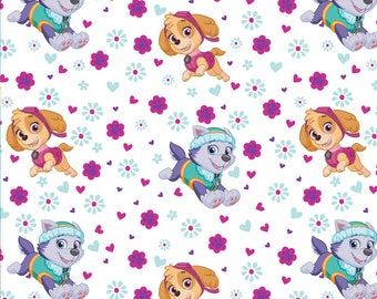 White Paw Patrol Pup Power Nick Jr Skye Everest cotton fabric nickelodeon woven characters logo quilting material kids  by the yard  metre