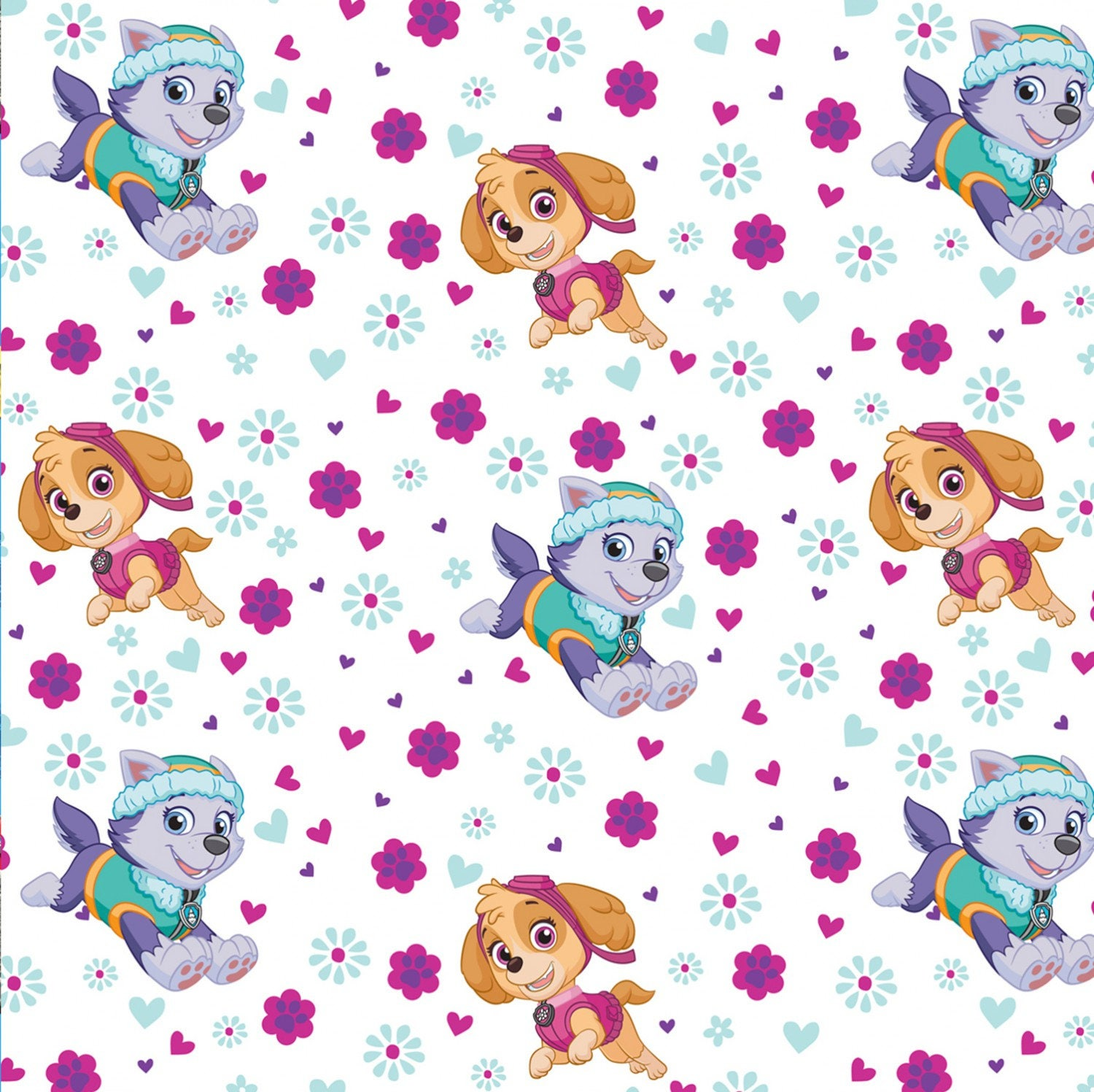 White paw patrol pup power nick jr skye everest cotton for Kids character fabric
