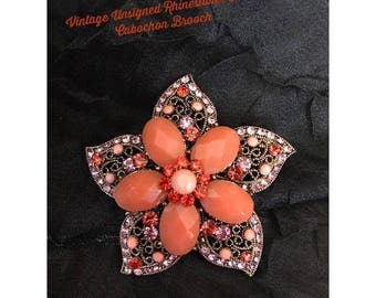 SALE Vintage Star Flower Faux Coral and Rhinestone Brooch / Vintage Pin / Unsigned