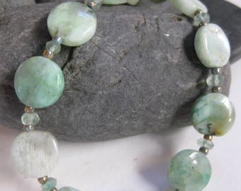 Amazonite & apatite crystal bed necklace