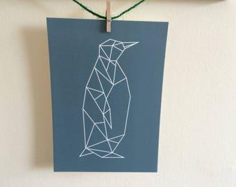 Geometric Penguin Postcard Print