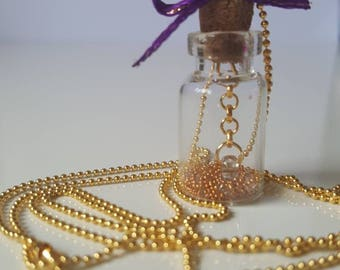 Hanging bead wish charm necklace